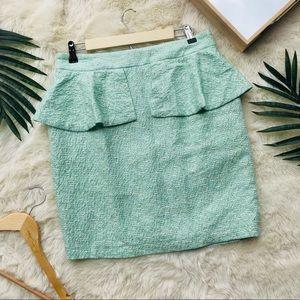 Zara Green & Ivory Tweed Puplum Skirt